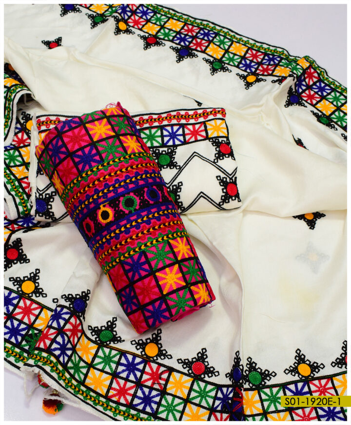 Beautiful Balochi Embroidered Winter Staple Marina Suits with 4 Side Border Embroidered Shawl - S01-1920E