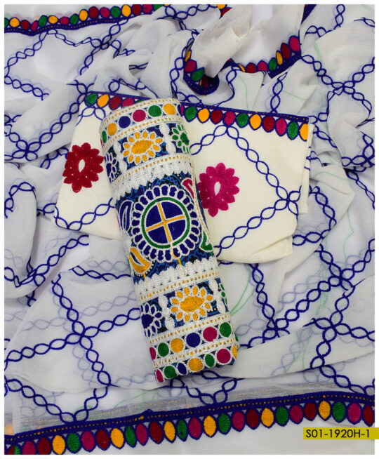 Blue Ajrak Linen Embroidered Suits with Chiffon Dupatta – S01-1920H