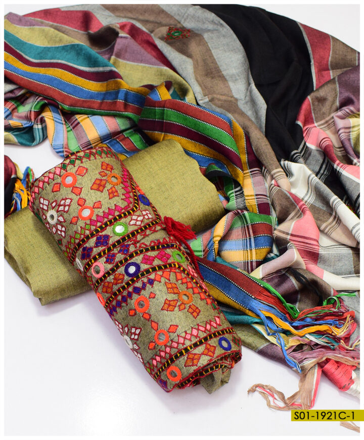 Handmade Balochi Sheesha Work on Two Tuned Sussi Winter Fabric 3 PCs Un-Stitched Suit - S01-1921C
