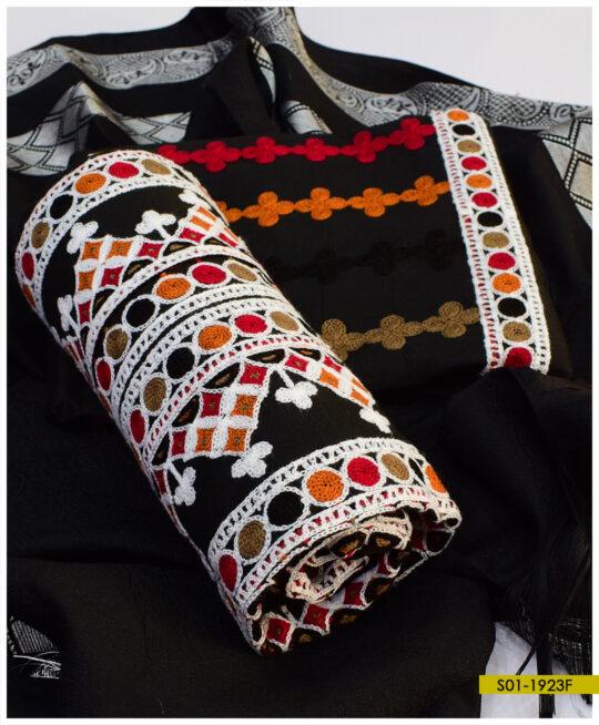 Aari Goli Embroidery on Light Weight Marina Shirt and Dupatta with Wool Shawl – S01-1923F