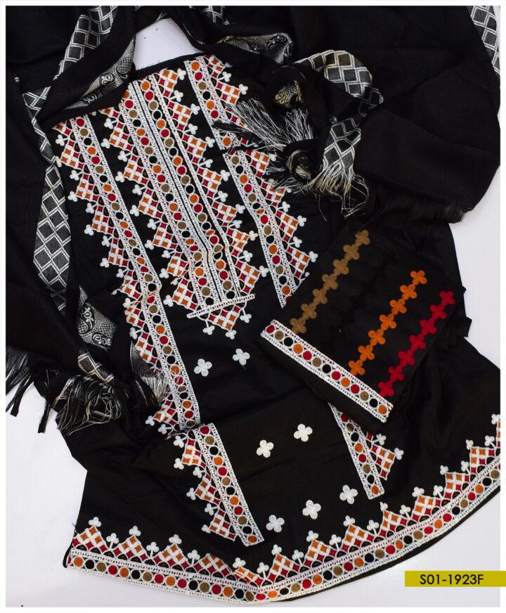 Aari Goli Embroidery on Light Weight Marina Shirt and Dupatta with Wool Shawl - S01-1923F