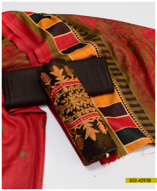 Printed Linen Embroidered 3 PCs Un-Stitched Women Dress with Wool Shawl – S02-4293B