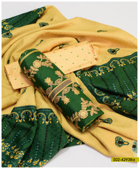Printed Winter Linen Embroidered Suits With Wool Shawls – S02-4293Ba