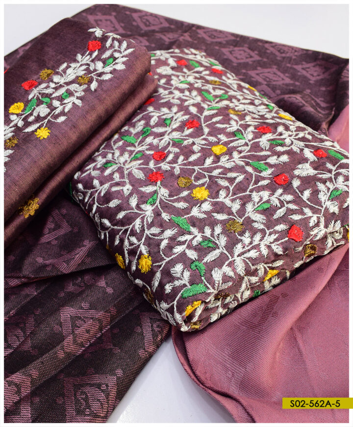 Light Weight Marina 3 PCs Bareeze Jaal Embroidery Winter Suits With Wool Jackuard Shawl - S02-562A
