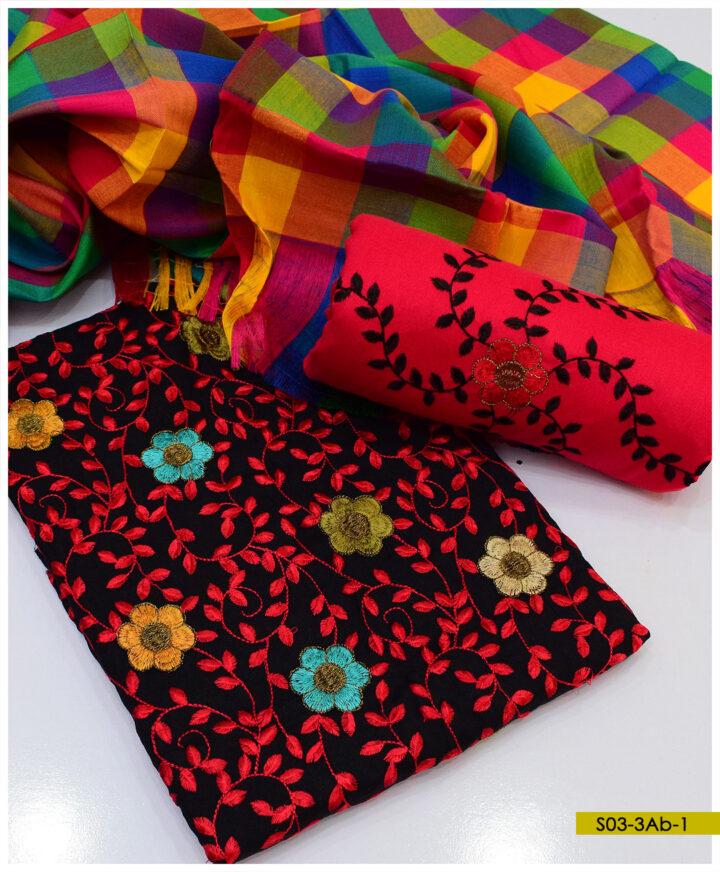 Light Weight Marina 3 PCs Bareeze Jaal Embroidery Suits With Jackuard Shawl - S03-3Ab
