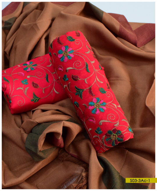 Bareeze Jaal New Style Embroidery on Light Weight Marina Fabric 3 PCs Suit With Wool Shawl – S03-3Ac