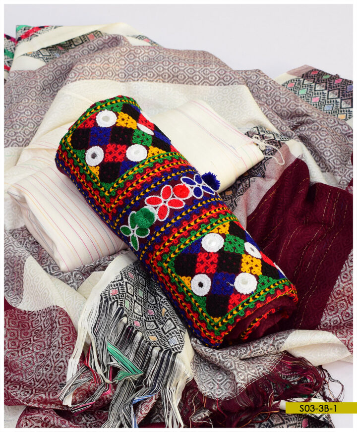 3 PCs Aari Embroidery Light Weight Marina Winter Suits With Wool Shawl - S03-3B