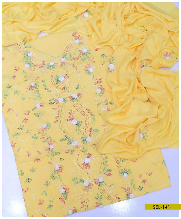 3 PCs Linen Un Stitched Hand Embroidered Suit With Linen Dupatta - SEL-141