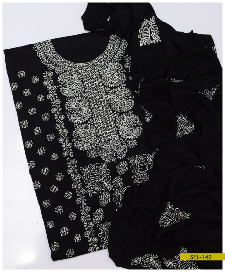 3 PCs Linen Un Stitched Hand Embroidered Suit With Embroidered Linen Dupatta - SEL-142