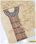 3 PCs Linen Un Stitched Hand Embroidered Aari Work Suit With Linen Dupatta - SEL-143