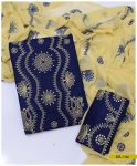 3 PCs Linen Chikankari Work Machine Embroidered Suit With Chiffon Embroidered Dupatta - SEL-144