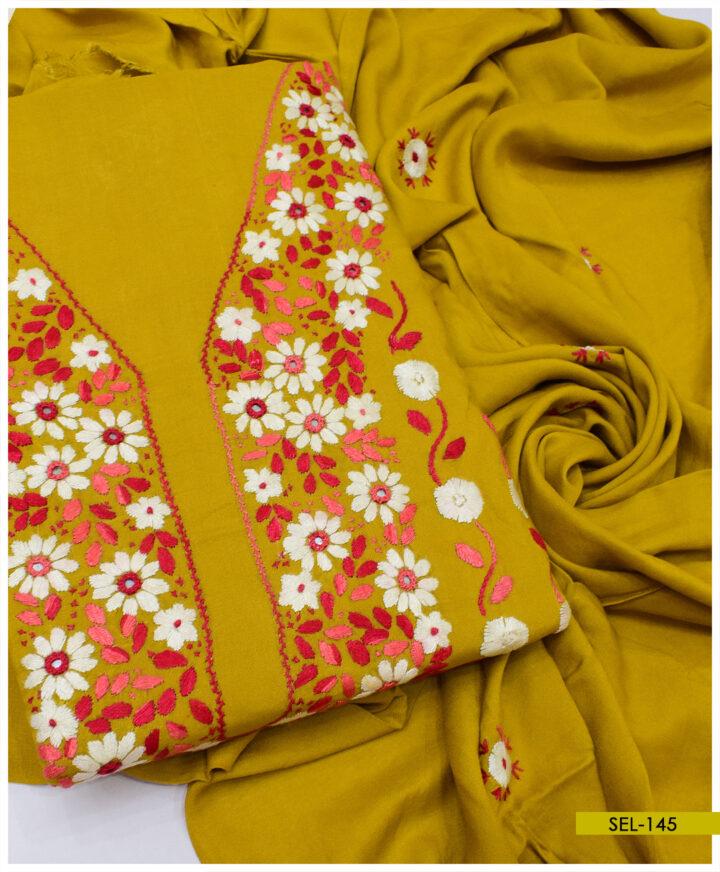3 PCs Linen Un Stitched Hand Embroidered Suit With Linen Dupatta - SEL-145