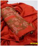 3 PCs Linen Un Stitched Hand Embroidered Suit With Linen Embroidered Dupatta - SEL-146