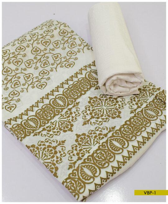 Block Printed 2 PCs Paper Cotton Shirt and Trouser – VBP