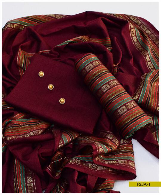 3 PCs Sussi Silk Winter Un-Stitched Zari Suits – FS5A