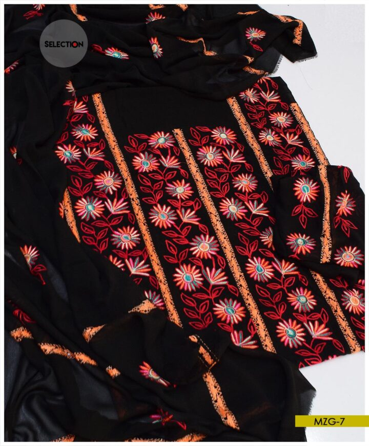 2 PCs Hand Embroidered Georghet Un-Stitched Suit -MZG7