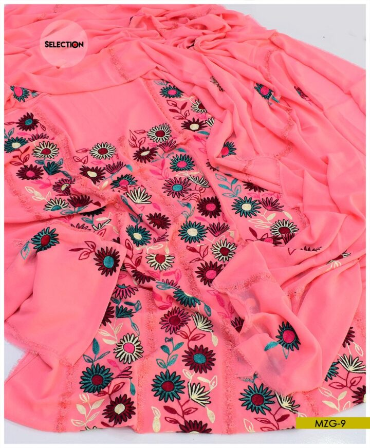 2 PCs Georghet Hand Embroidered Unstitched Shirt and Dupatta -MZG9