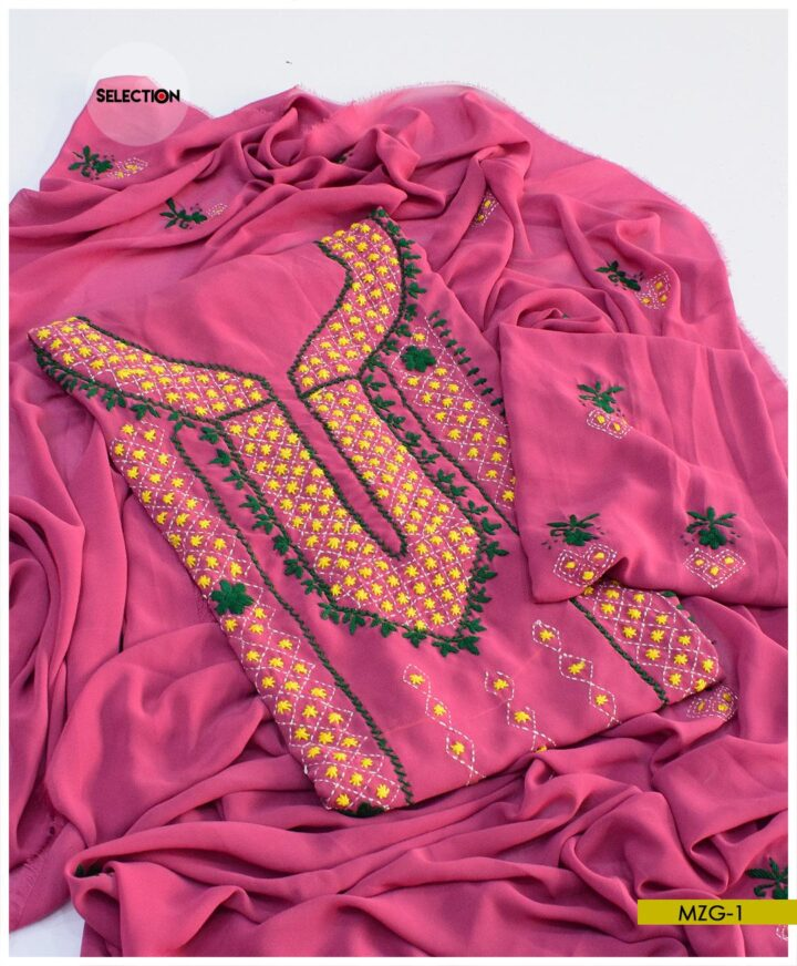 Hand Embroidered Georghet 2 PC Shirt and Dupatta - MZG1