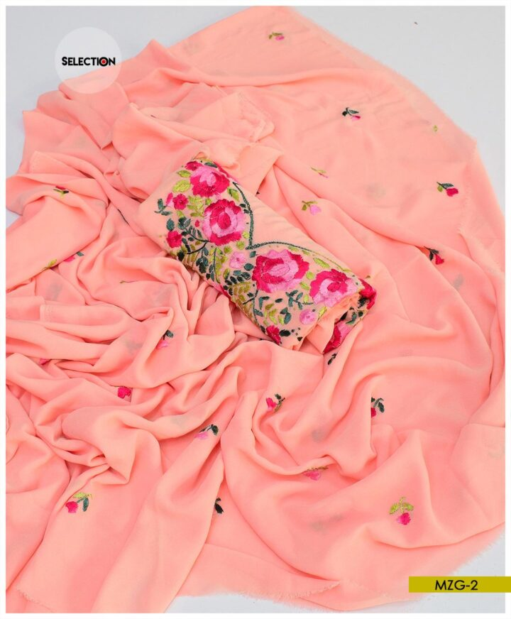 Hand Embroidered Georghet 2 PCs Shirt and Dupatta - MZG2