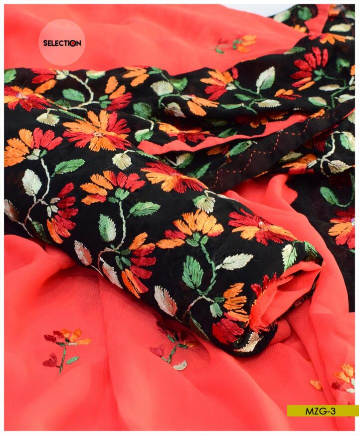 Hand Embroidered Georghet 2 PCs Unstitched Shirt and Dupatta - MZG3