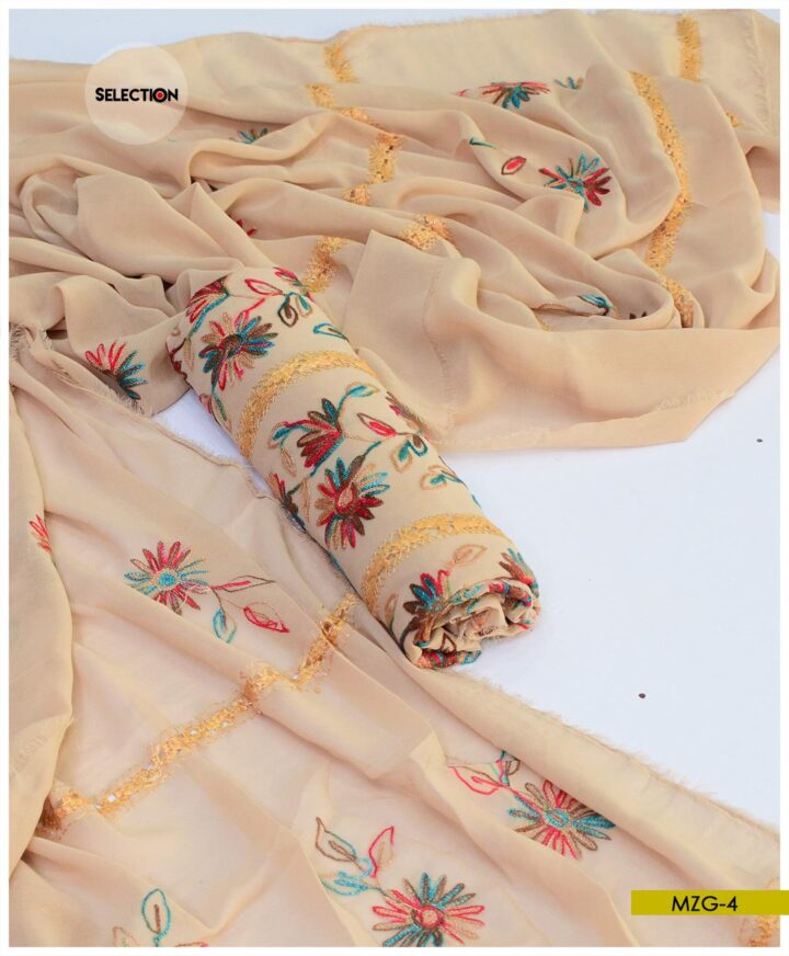 2 PCs Hand Embroidered Georghet Unstitched Shirt and Dupatta -MZG4