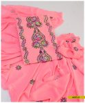 2 PCs Hand Embroidered Georghet Un-Stitched Shirt and Dupatta -MZG5
