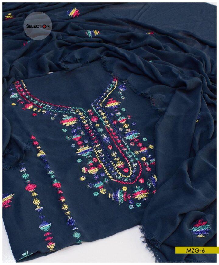 2 PCs Hand Embroidered Banarsi Work Georghet Un-Stitched Shirt and Dupatta -MZG6