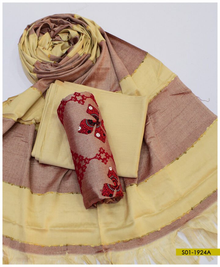 Aari Embroidery with Applique Work Flowers on Light Weight Marina 3 PCs Suits with Wool Shawl - S01-1924A