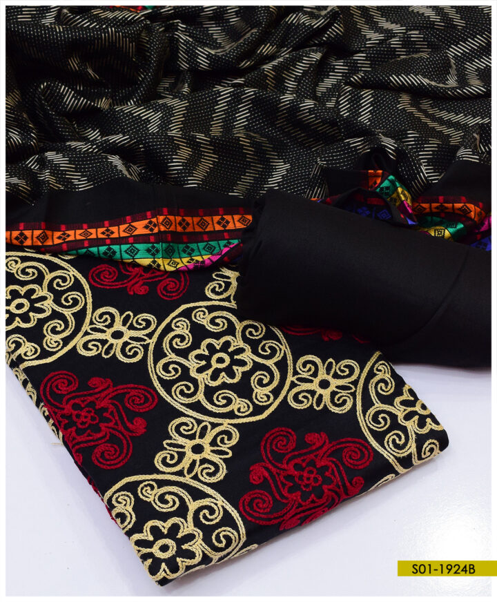 3 PCs Light Weight Marina Aari Scrolling Style Embroidered Suits