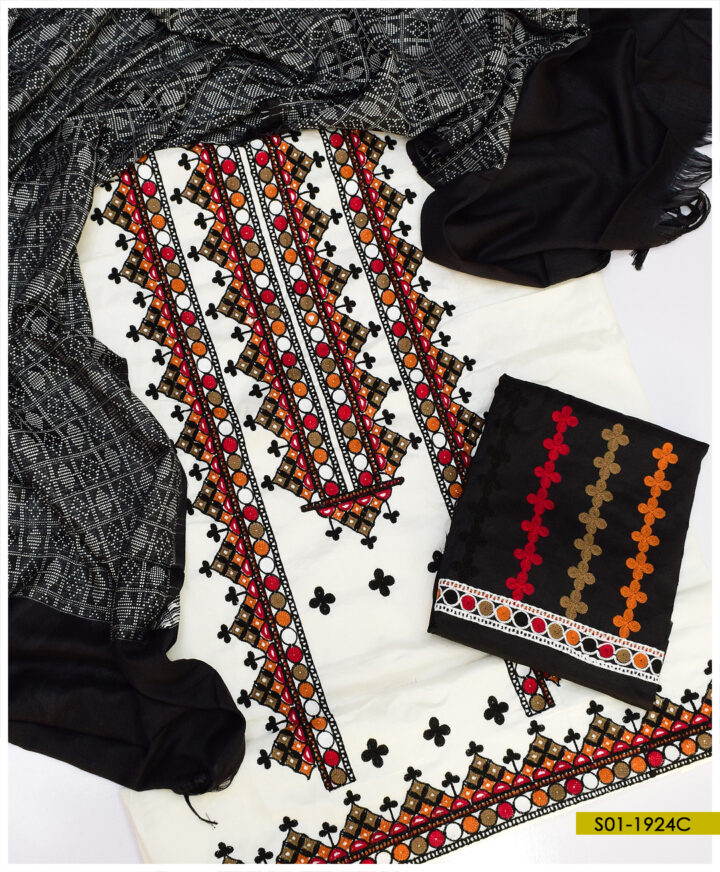 3 PCs Aari Embroidery Black and White Winter Light Weight Marina Suits With Jackuard Wool Shawl - S01-1924C