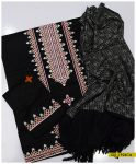 Light Weight Marina 3 PCs Aari Embroidery Black Suit with Jackuard Wool Shawl - S01-1924Ca