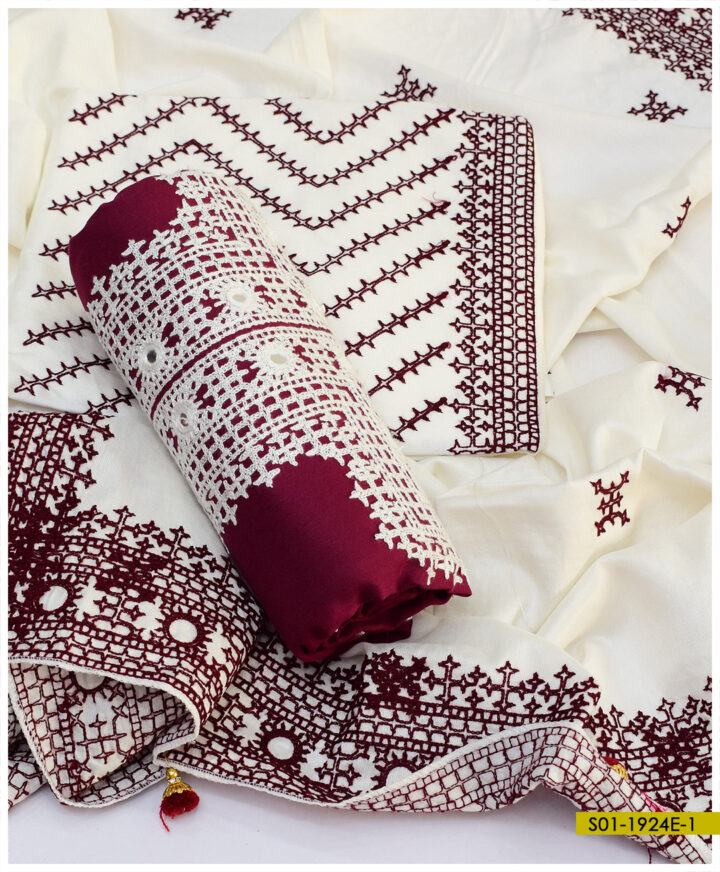 3 PCs Light Weight Marina Sindhi Embroidery Suits with 4 Side Embroidered Shawl - S01-1924E