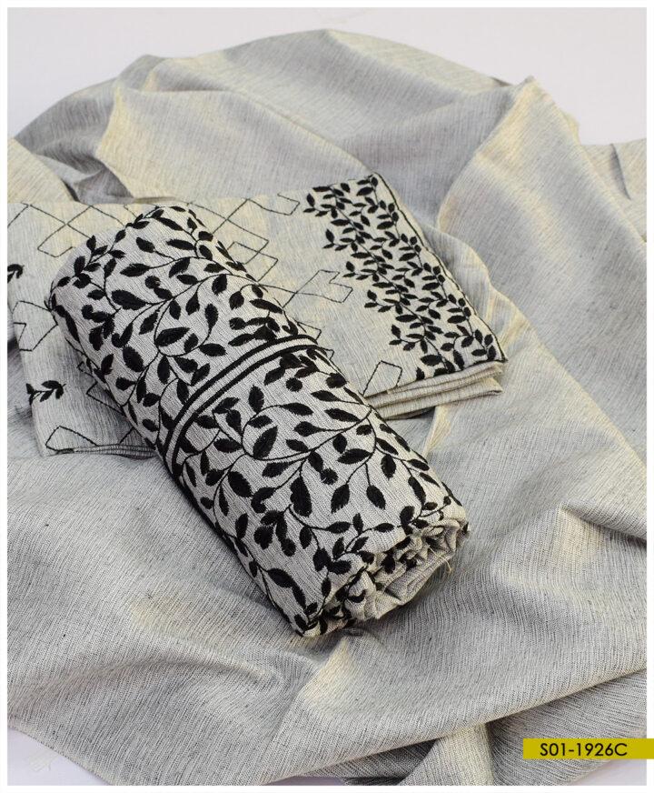 3 PCs Bareeze Embroidered Soft Khaddar Winter Dress - S01-1926C