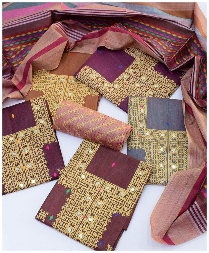 3 PCs Machine Embroidered Staple Marina Winter Unstitched Suits With Wool Bindi Shawl - S01-1928B