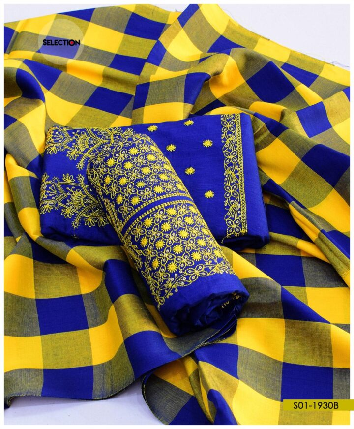 3 PCs Staple Marina Embroidered Suits with Wool Shawl - S01-1930B