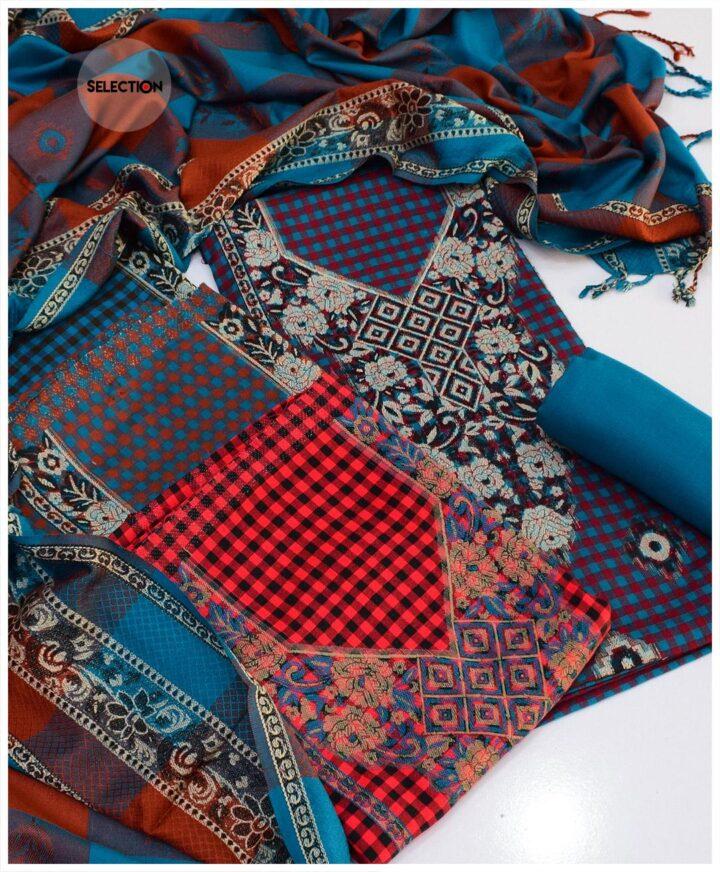 Fine Quality Jackuard Wool 3 PCs Winter's Un-Stitched Suits - S02-1488A