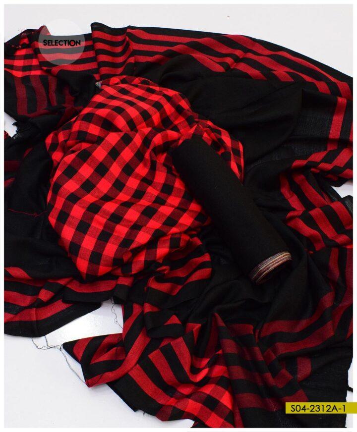 3 PCs Un-Stitched Wool Winter's Suits - S04-2312A