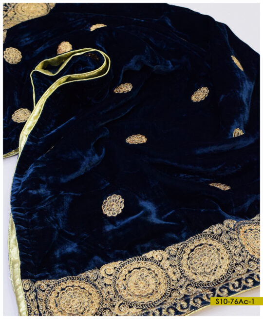 Beautifully Embroidered Tilla Work Velvet Shawls - S10-76Ac