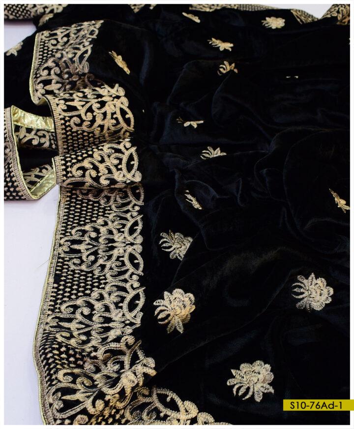 Beautifully Embroidered Tilla Work Velvet Shawls - S10-76Ad