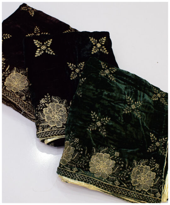 Velvet Till Work Embroidery Shawls – S11-22829A