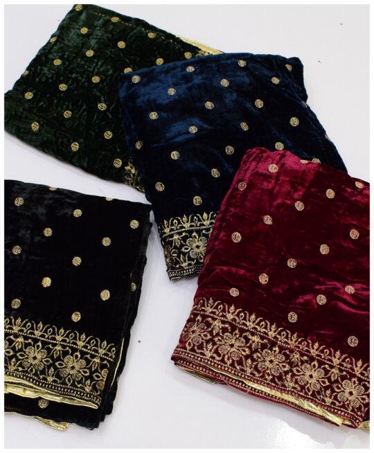 Velvet Till Work Embroidery Shawls – S11-22829Ab