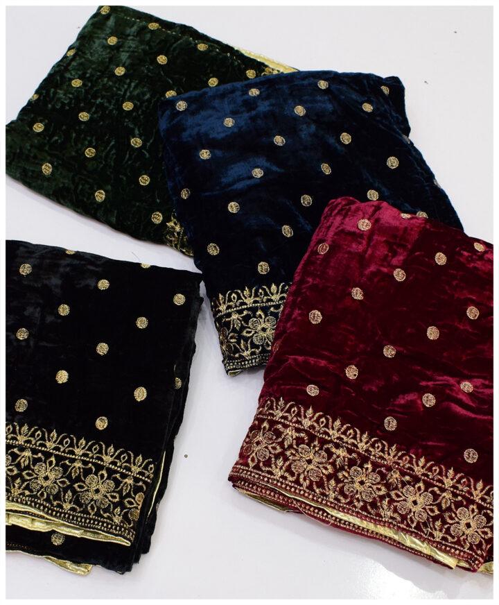 Velvet Till Work Embroidery Shawls - S11-22829Ab