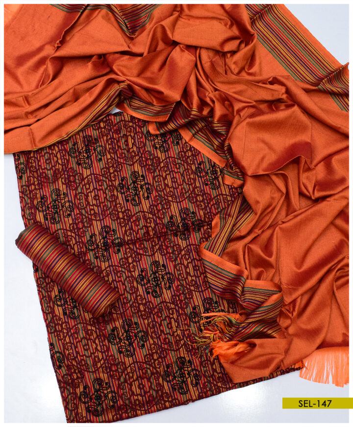 3 PCs Aari Scrolling Design Embroidery on Light Weight Marina Shirt with Lining Trouser and Shawl - SEL-147