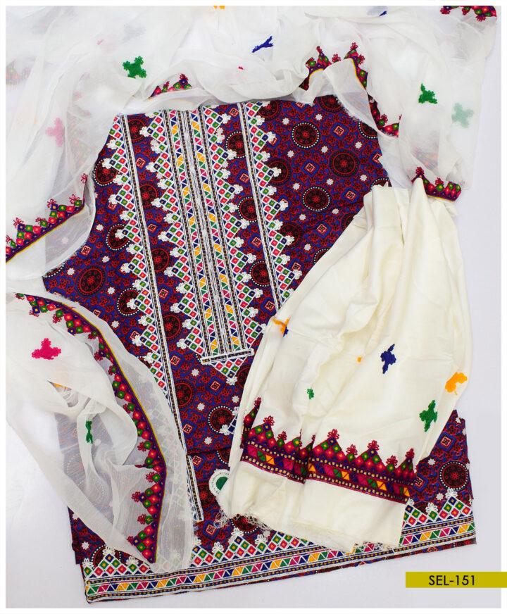Aari Embroidery Linen Ajrak Suit With Chiffon Dupatta - SEL-151