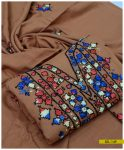 3 PCs Linen Hand Embroidered Suit With Linen Dupatta - SEL-149