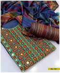 3 PCs Embroidered Light Weight Marina Suits with Linning Shalwaar and Shawl - SEL-152