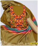 3 PCs Light Weight Marina Embroidered Winter Dress With Wool Shawl - SEL-154