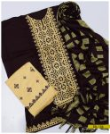 3 PCs Light Weight Marina Computer Applique Embroidery Winter Dress With Shawl - SEL156
