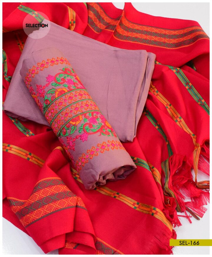 Staple Marina Embroidered 3 PCs Suit with Shawl - SEL166