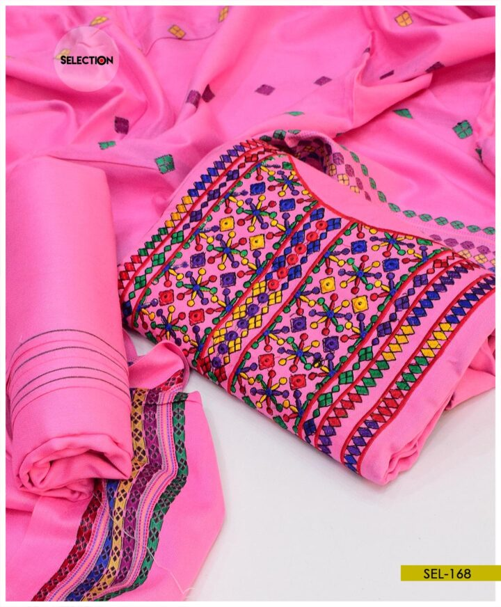 3 Pc Computer Embroidered Staple Marina Suit With Shawl Dupatta - SEL168
